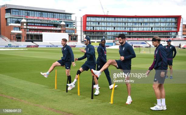 Dom Bess Mark Wood Jofra Archer Dom Sibley and Joe Root of England warm up during a England Nets Session at Emirates Old Trafford on August 03 2020...