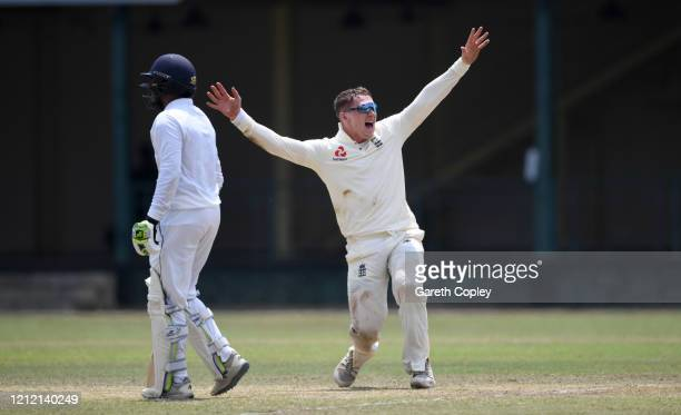Dom Bess of England appeals during the tour match between SLC Board President's XI and England at P Sara Oval on March 13, 2020 in Colombo, Sri Lanka.