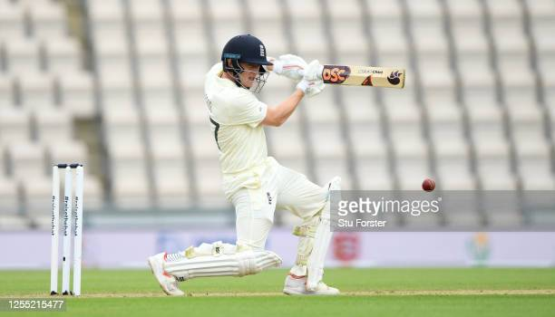 Dom Bess of England bats during day two of the 1st #RaiseTheBat Test match at The Ageas Bowl on July 09 2020 in Southampton England
