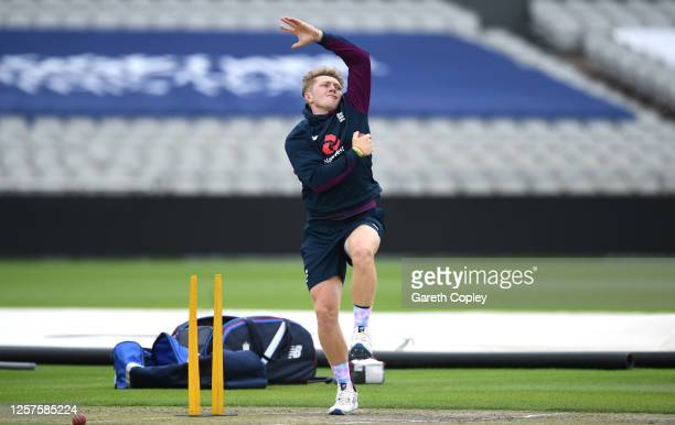Dom Bess of England bowls during a England Nets Session at Emirates Old Trafford on July 22 2020 in Manchester England