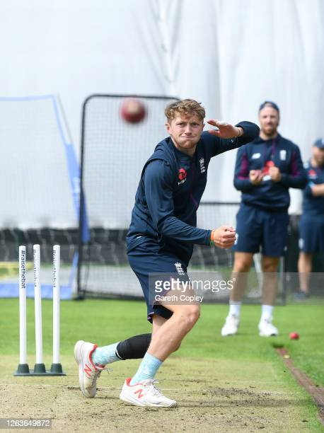 Dom Bess of England bowls during a England Nets Session at Emirates Old Trafford on August 03 2020 in Manchester England