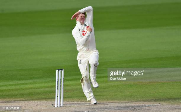 Dom Bess of England bowls during Day Five of the 2nd Test Match in the #RaiseTheBat Series between England and The West Indies at Emirates Old...