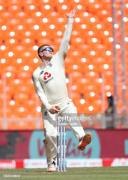 Dom Bess of England bowls during Day Two of the 4th Test Match between India and England at Sardar Patel Stadium on March 05, 2021 in Ahmedabad,...