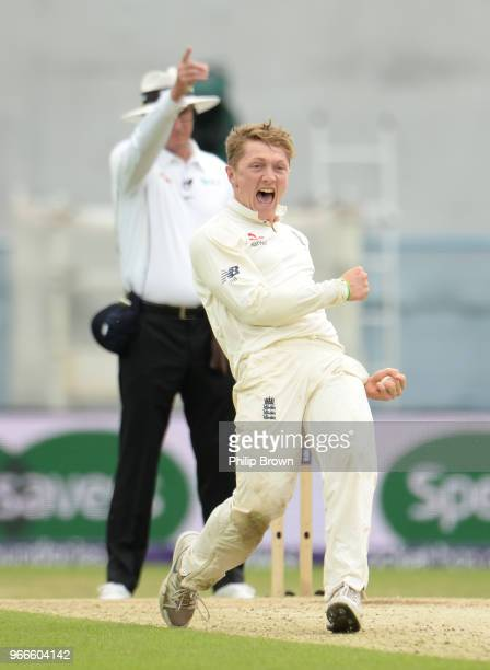 Dom Bess of England celebrates after dismissing Imam-ul-Haq during the third day of the 2nd Natwest Test match between England and Pakistan at...