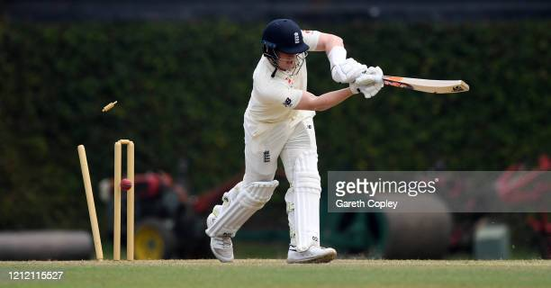Dom Bess of England is bowled by Asitha Fernando of SLC Board President's XI during the tour match between SLC Board President's XI and England at P...