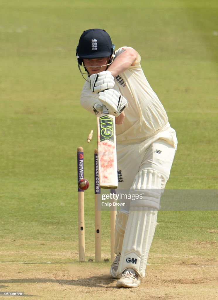 Dom Bess of England is bowled during the fourth day of the 1st Natwest Test match between England and Pakistan at Lord's cricket ground on May 27, 2018 in London, England.