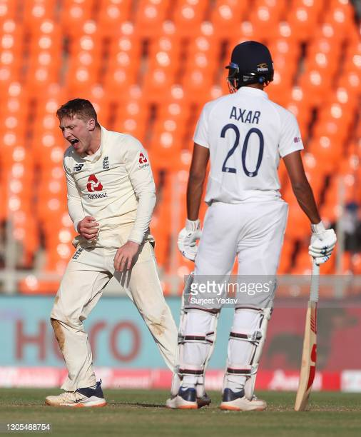 Dom Bess of England reacts during Day Two of the 4th Test Match between India and England at Sardar Patel Stadium on March 05, 2021 in Ahmedabad,...