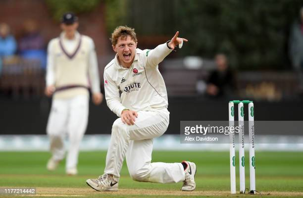 Dom Bess of Somerset appeals unsuccessfully during Day Four of the Specsavers County Championship Division One match between Somerset and Essex at...