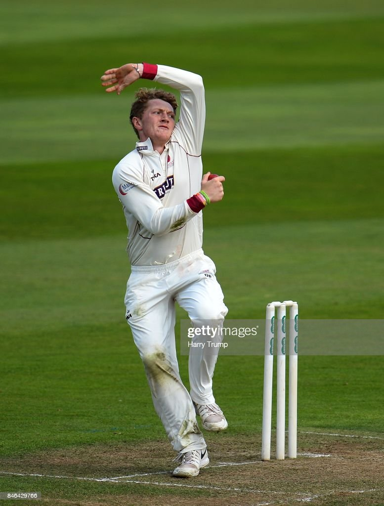 Dom Bess of Somerset bowls during Day Two of the Specsavers County Championship Division One match between Somerset and Lancashire at The Cooper Associates County Ground on September 13, 2017 in Taunton, England.
