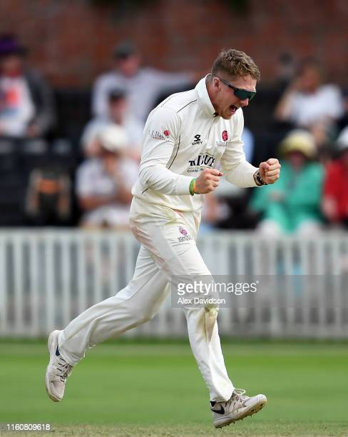 Dom Bess of Somerset celebrates taking the wicket of Luke Fletcher and his five wicket haul during Day Two of the Specsavers County Championship...