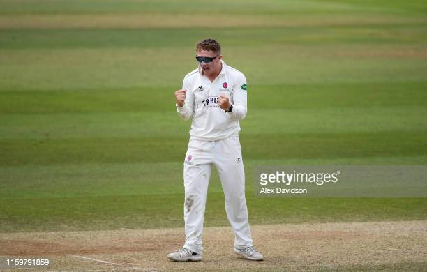 Dom Bess of Somerset celebrates the wicket of Mason Crane of Hampshire and victory during Day Four of the Specsavers County Championship Division One...