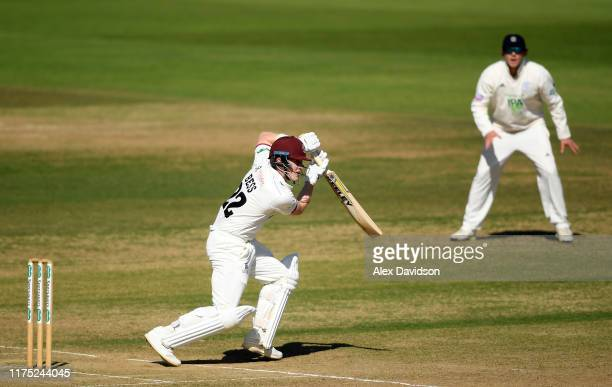 Dom Bess of Somerset drives during Day Two of The Specsavers Division One County Championship match between Hampshire and Somerset at Ageas Bowl on...