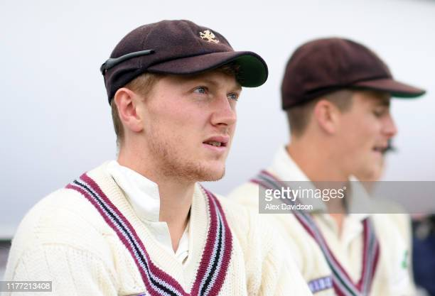 Dom Bess of Somerset looks on during Day Four of the Specsavers County Championship Division One match between Somerset and Essex at The Cooper...
