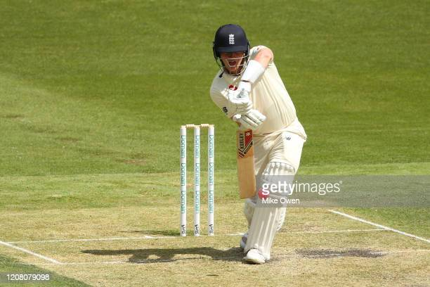 Dom Bess of the England Lions bats during the Four Day match between Australia A and the England Lions at Melbourne Cricket Ground on February 23...
