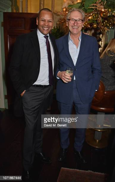 Dom Carter and John Witherow join Hornby and Halpern Prince at their annual Christmas drinks in Mayfair at Annabel's on December 11 2018 in London...