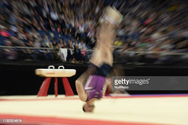Dom Cunningham flips off his head on the floor during the Superstars of Gymnastics Event at the O2 Arena Greenwich on Saturday 23rd March 2019