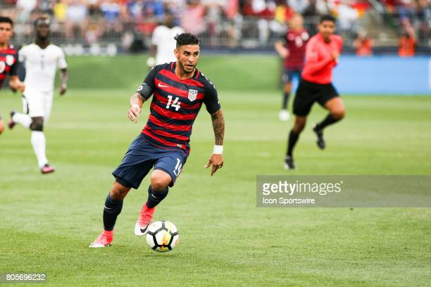 Dom Dwyer brings the ball forward on his debut for the USMNT during the USA vs Ghana friendly soccer match on July 1 2017 at Pratt Whitney Stadium at...