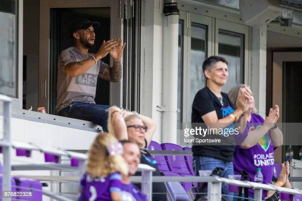 Dom Dwyer celebrates after his wife Orlando Pride forward Sydney Leroux scored a goal during the soccer match between The Orlando Pride and Sky Blue...
