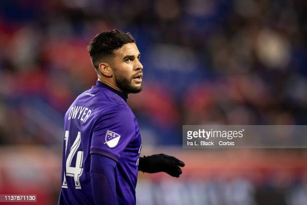 Dom Dwyer of Orlando City during the MLS match between Orlando City SC and New York Red Bulls at Red Bull Arena on March 23 2019 in Harrison NJ USA...