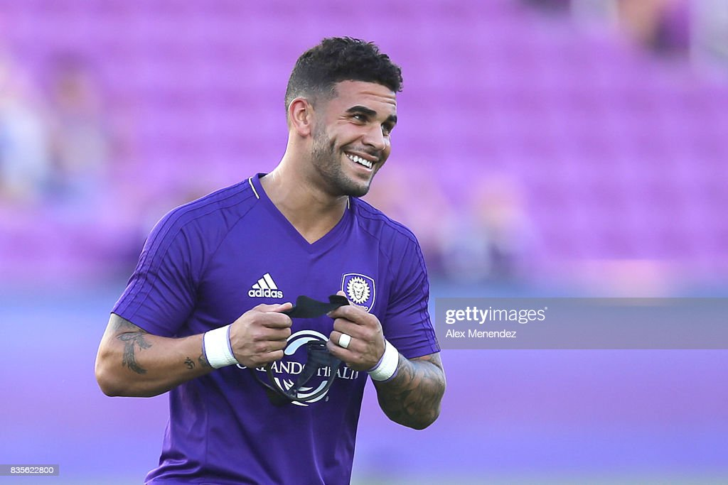Dom Dwyer #18 of Orlando City SC is seen prior to the start of a MLS soccer match between the Columbus Crew SC and the Orlando City SC at Orlando City Stadium on August 19, 2017 in Orlando, Florida.