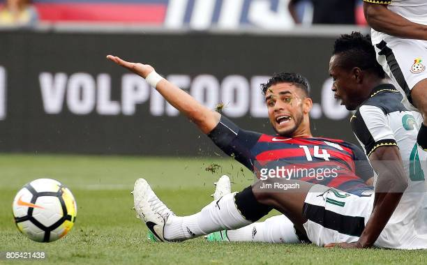 Dom Dwyer of the United States looks for a penalty call against in the first half during an international friendly between USA and Ghana at Pratt...
