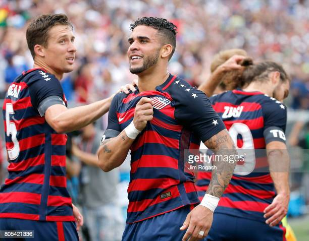 Dom Dwyer of the United States reacts with teammates after he scores a goal during an international friendly between USA and Ghana at Pratt Whitney...
