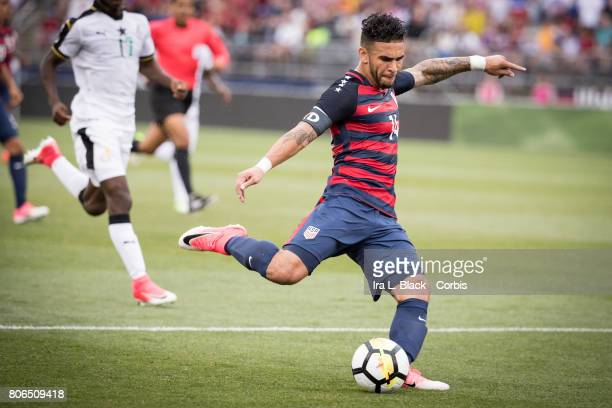 Dom Dwyer of US Men's National Team goes for the shot on goal during the International Friendly Match between US Men's National Team and Ghana at the...