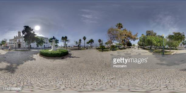 dom francisco gomez square - faro city portugal stock photos and pictures