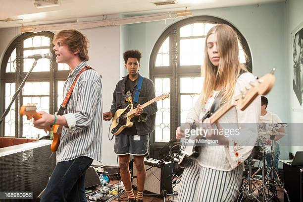 Dom Ganderton Ryan Malcolm and Emily Baker of Superfood perform on stage at Audio Ustairs on Day 2 of The Great Escape Festival on May 17 2013 in...