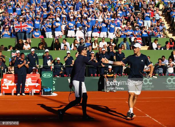 Dom Inglot and Jamie Murray of Great Britain take on Pablo Carreno Busta and Feliciano Lopez of Spain in the doubles during day two of the Davis Cup...
