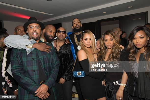 Dom Kennedy Baron Davis Jay 305 Nipsey Hussle Lauren London Malika Haqq and Khadijah Haqq attend Nipsey Hussle's private debut album release party...