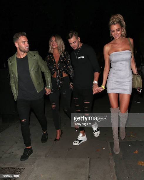 Dom Lever Jess Shears Olivia Attwood and Chris Hughes attend Kem Cetinay BoohooMAN collection launch party at Opal Bar on August 24 2017 in London...