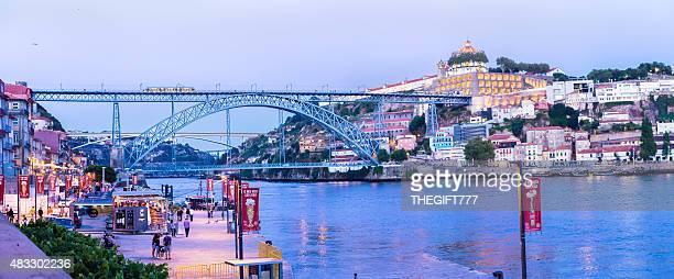 Dom Luis I Bridge in Porto, with Ribeira panorama