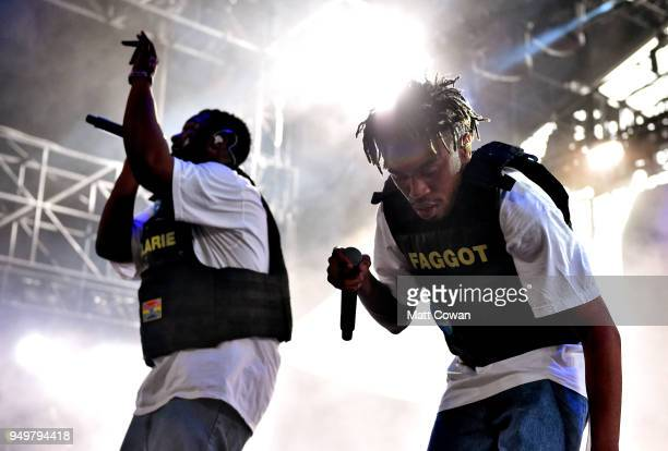 Dom McLennon and Kevin Abstract of Brockhampton performs onstage during the 2018 Coachella Valley Music And Arts Festival at the Empire Polo Field on...