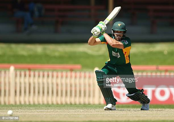 Dom Michael of the Tigers bats during the Matador BBQs One Day Cup match between Tasmania and Western Australia at North Sydney Oval on October 15...