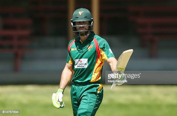 Dom Michael of the Tigers celebrates and acknowledges the crowd after scoring a half century during the Matador BBQs One Day Cup match between...