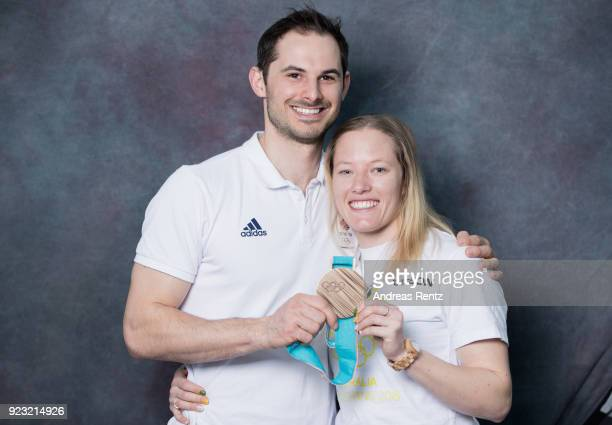 Dom Parsons of Great Britain and Jaclyn Narracott of Australia pose for a briefly portrait on day 14 of the PyeongChang 2018 Winter Olympic Games on...