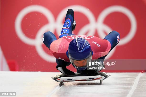 Dom Parsons of Great Britain begins his final slide on his way to finishing third during the Men's Skeleton at Olympic Sliding Centre on February 16,...