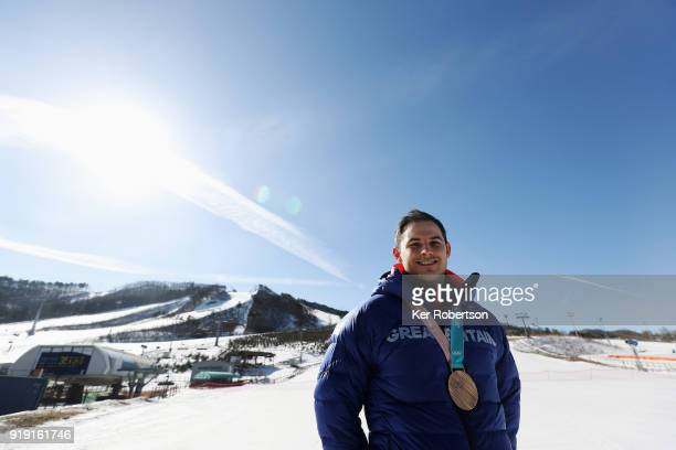 Dom Parsons of Great Britain pictured with his bronze medal for finishing third in the Men's Skeleton at the 2018 PyeongChang Winter Olympic Games on...