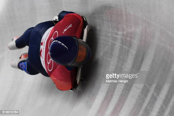 Dom Parsons of Great Britain slides during the Men's Skeleton heats on day six of the PyeongChang 2018 Winter Olympic Games at the Olympic Sliding...