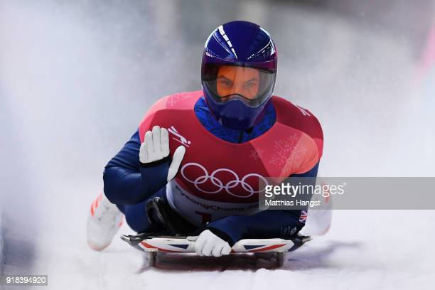 Dom Parsons of Great Britain slides into the finish area during the Men's Skeleton heats on day six of the PyeongChang 2018 Winter Olympic Games at...