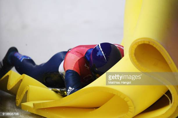 Dom Parsons of Great Britain slides into the finish area in the final run of the Men's Skeleton heats at Olympic Sliding Centre on February 16, 2018...