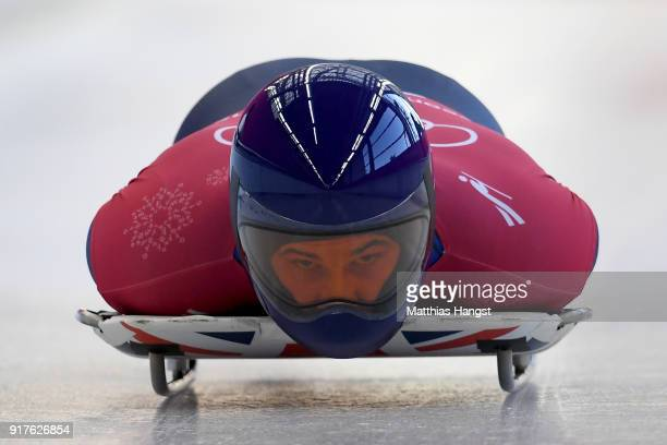 Dom Parsons of Great Britain trains during the Mens Skeleton training session on day four of the PyeongChang 2018 Winter Olympic Games at Olympic...