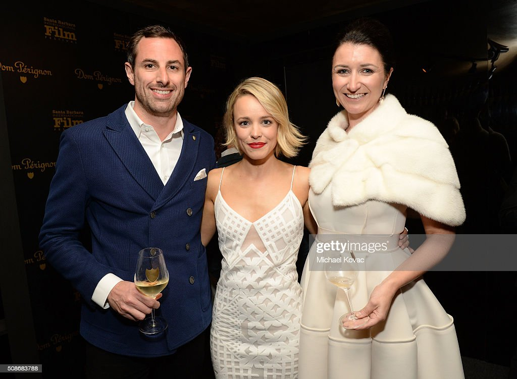 Dom Perignon Brand Director Richard Beaumont, actress Rachel McAdams, and Dom Perignon Marketing Director Julia Fitzroy visit the Dom Perignon Lounge before receiving the American Riviera Award at The Santa Barbara International Film Festival on February 5, 2016 in Santa Barbara, California.