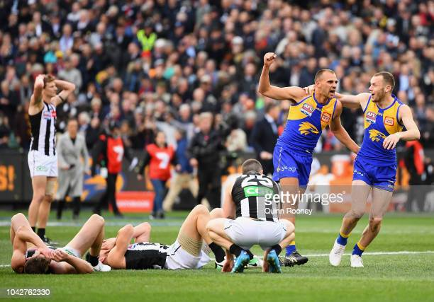 Dom Sheed and Daniel Venables of the Eagles celebrates winning as the Magpies look dejected during the 2018 AFL Grand Final match between the...