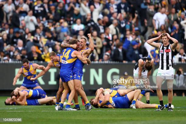 Dom Sheed of the Eagles and team mates celebrate winning the 2018 Toyota AFL Grand Final match between the West Coast Eagles and the Collingwood...