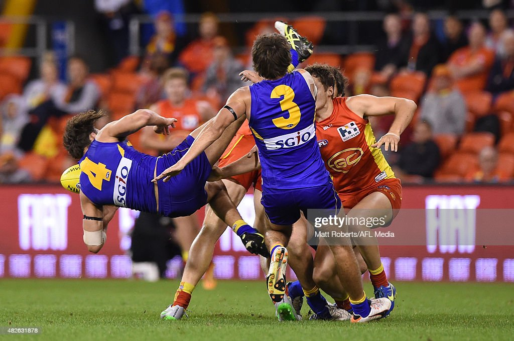 Dom Sheed of the Eagles marks during the round 18 AFL match between the Gold Coast Suns and the West Coast Eagles at Metricon Stadium on August 1, 2015 in Gold Coast, Australia.