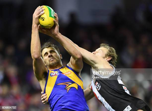 Dom Sheed of the Eagles marks infront of Jimmy Webster of the Saints during the round 20 AFL match between the St Kilda Saints and the West Coast...