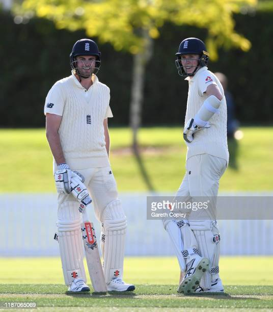 Dom Sibley and Zak Crawley of England during the tour match between New Zealand XI and England at Cobham Oval on November 12 2019 in Whangarei New...