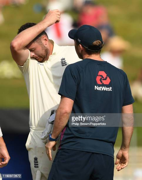 Dom Sibley of England after being struck on the helmet by a Tim Southee delivery during day 2 of the second Test match between New Zealand and...